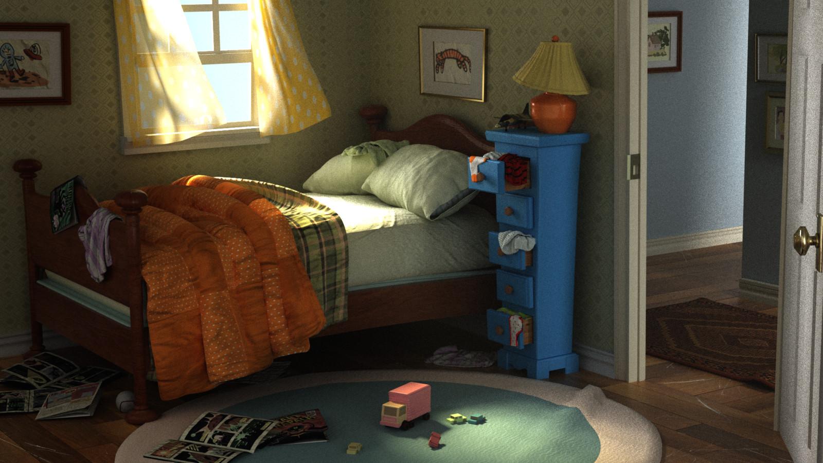 ArtStation - Calvin and Hobbes Bedroom, Jasmine Leung