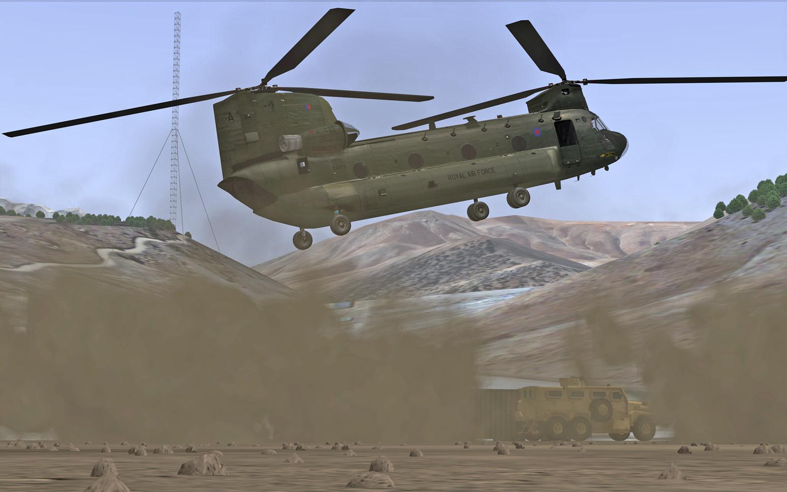 Chinook dust landing