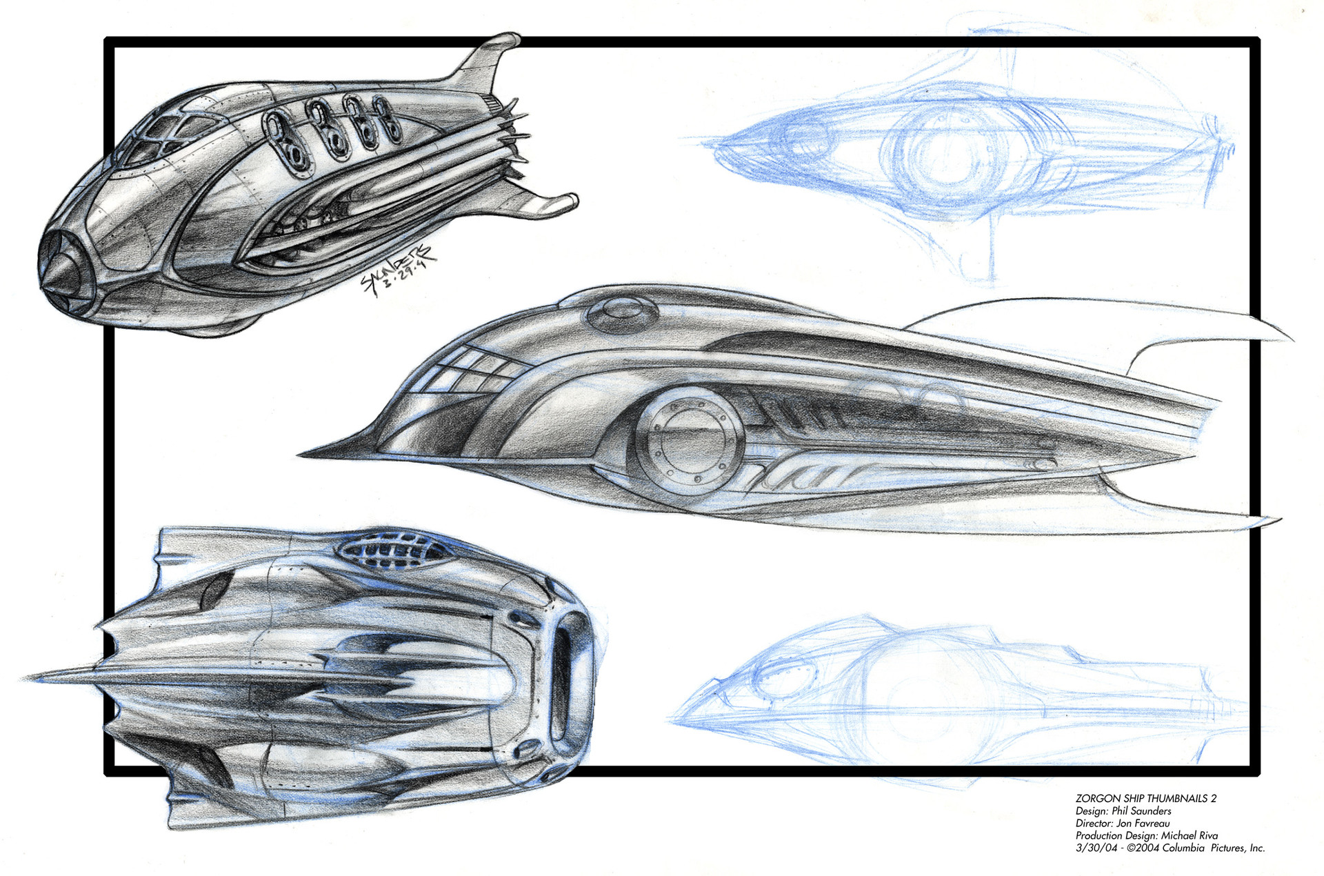 Second Page of Prismacolor sketches for the Zorgon Spaceship. The one in the middle has a lot of elements of the final design.