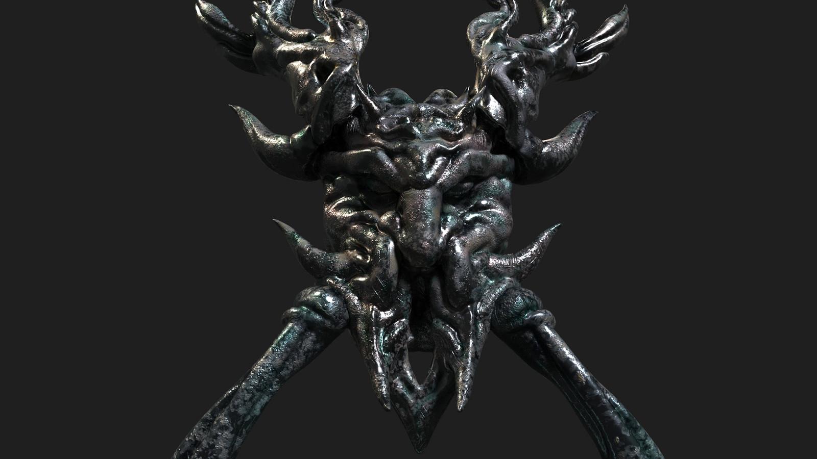 Gothic Fantasy Head Door Knob Game-ready 3D Asset (UE4)