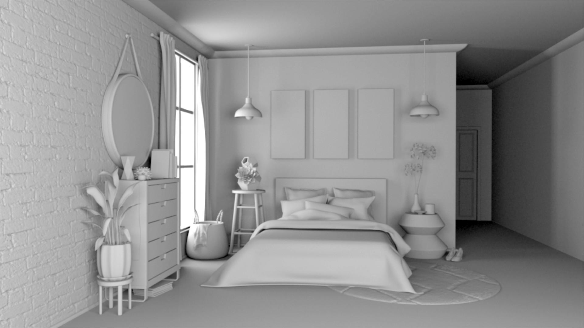 Sunlit bedroom untextured