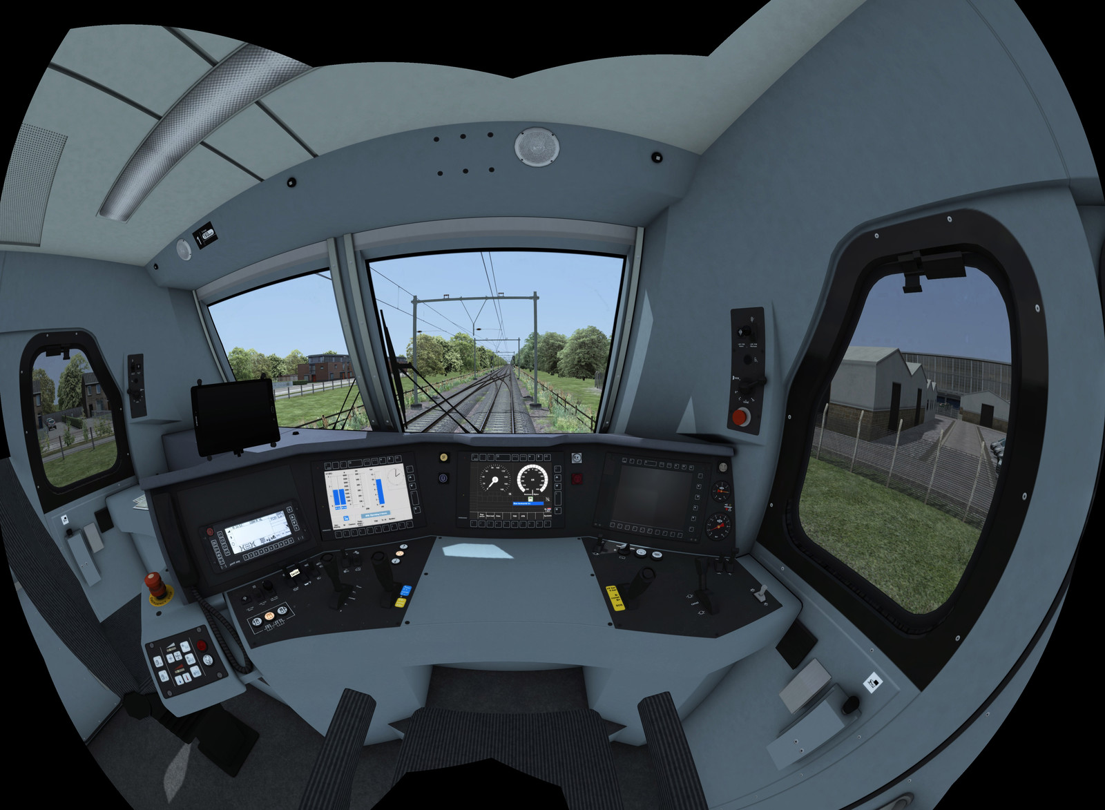 A fish-eye render of the fully modelled interior of a Traxx 186 cab. All the buttons and screens work and are hooked up to the simulation scripts.