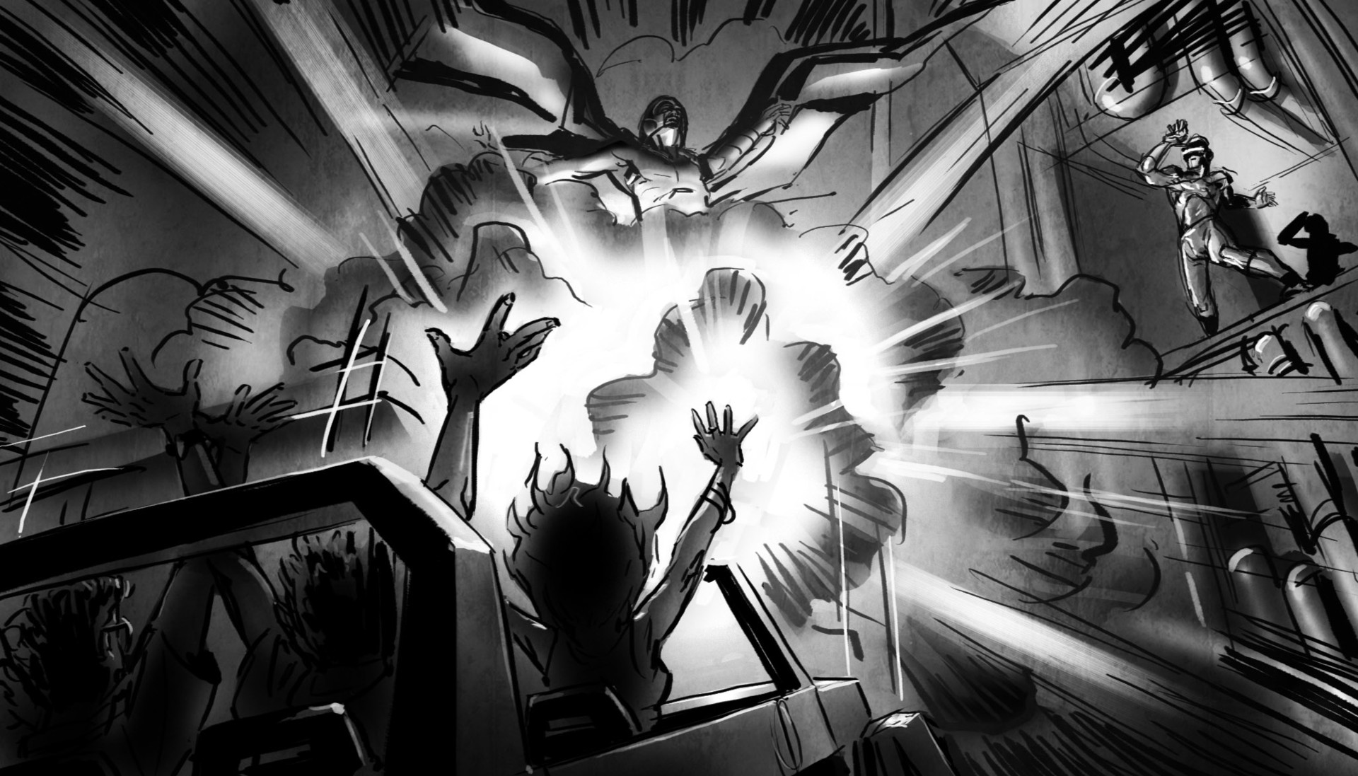 -- culminating in a huge explosion! We drop back to the ground and make our escape in reverse--