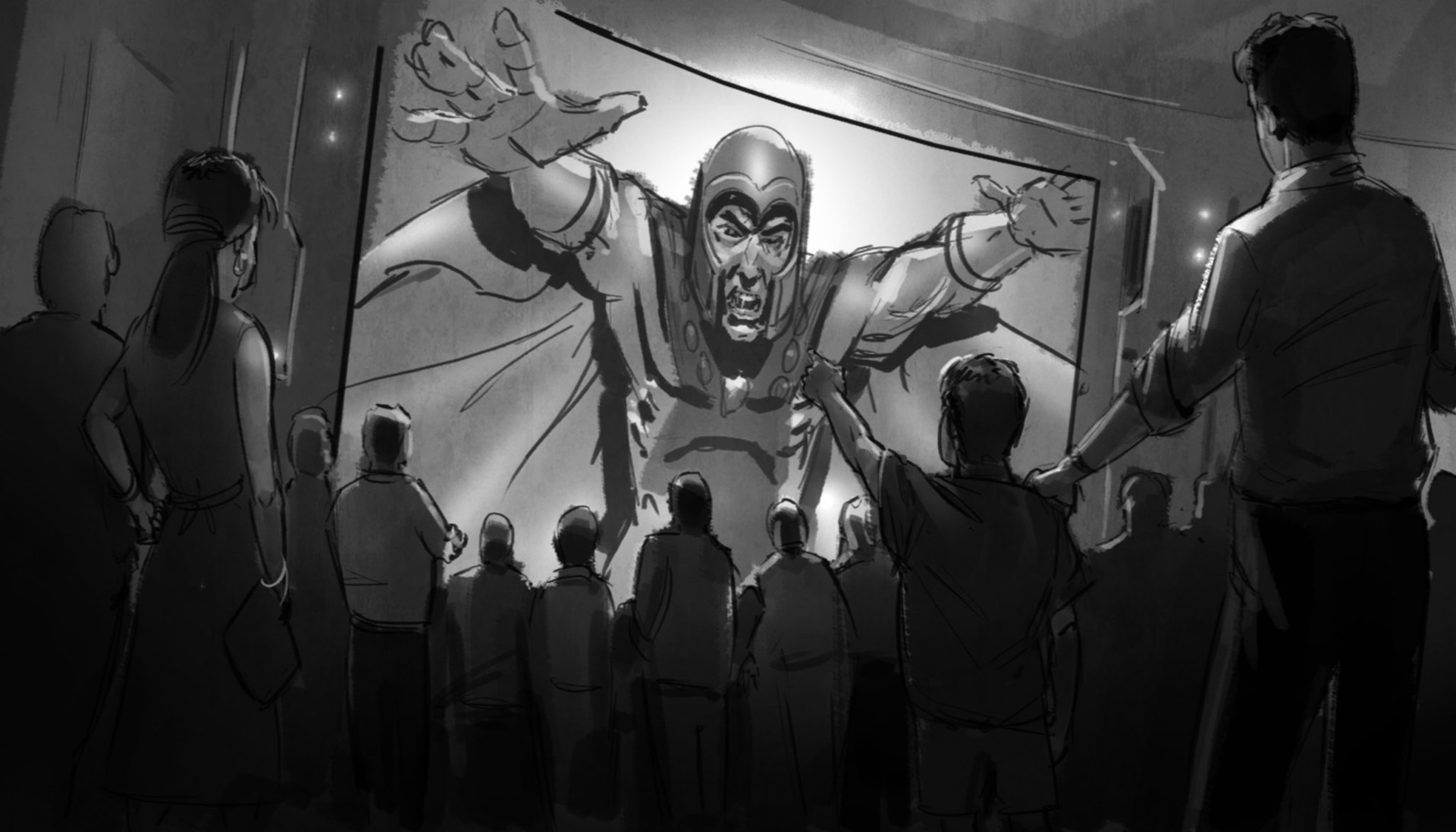 ...which is interrupted by Magneto taking over the feed and thanking Dr. X for gathering the latest batch of recruits for his cause.