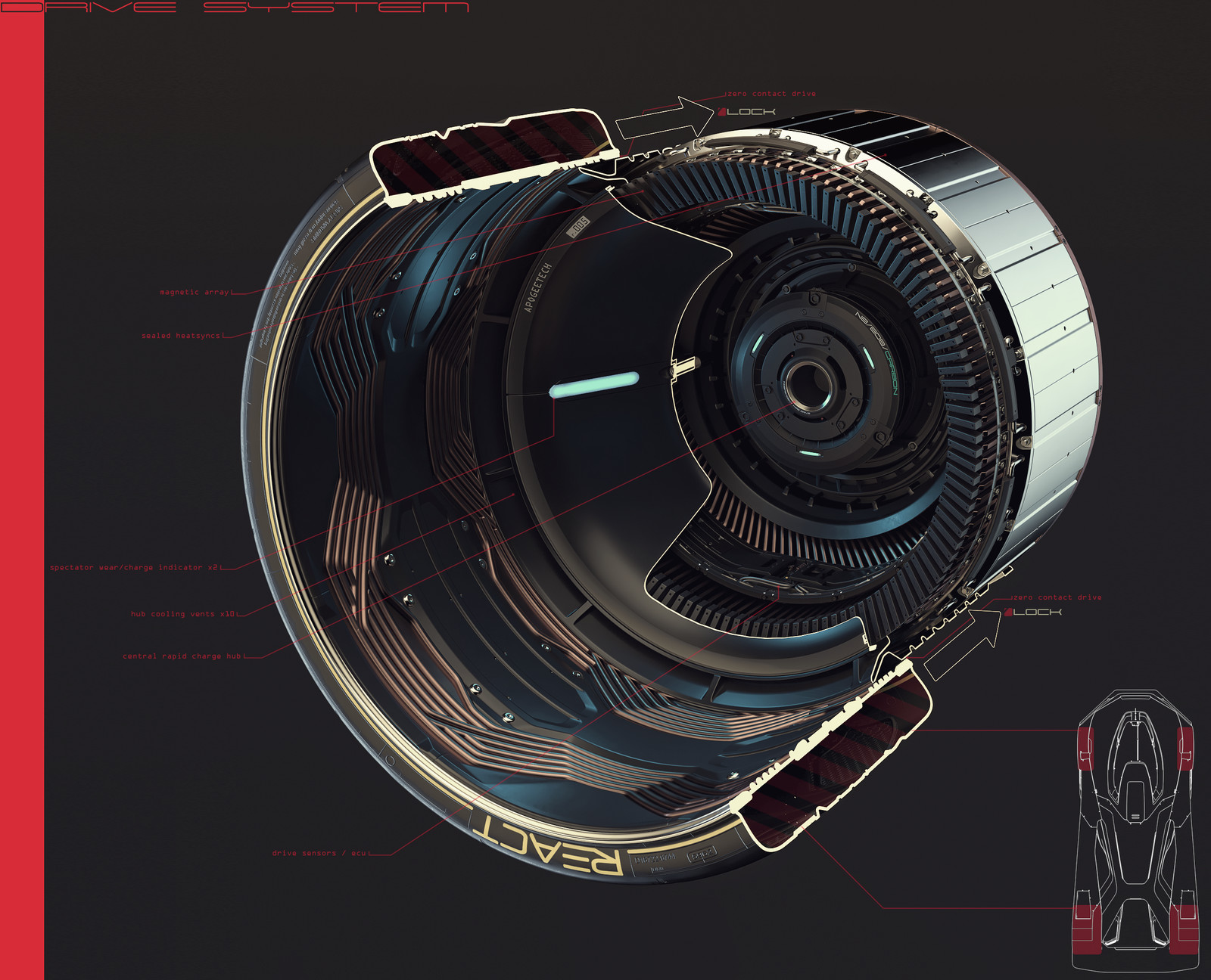 Central hub never moves, drive is delivered to a removable rim with tire attached, once power is delivered, the rim 'floats' within its own magnetic field, resulting in frictionless drive being delivered.