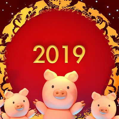 Tzuyu kao artstation 2019 chinese new year of pig 1119ss