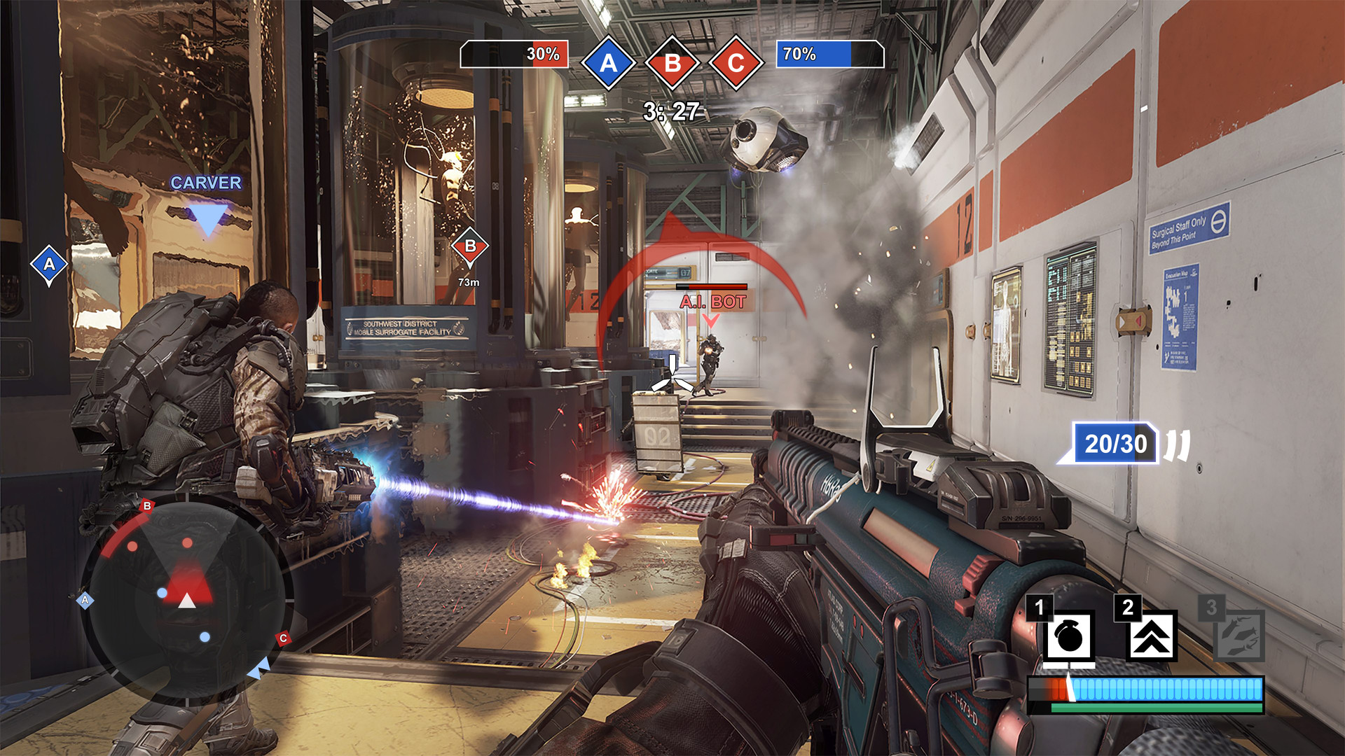 """A mock-up of the HUD for how it would look like for """"Dominion"""" mode, where players would have to fight for a point to win."""