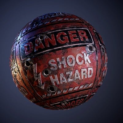 Metal Danger Shock Hazard Red Sign Bullet Holes Seamless PBR Texture
