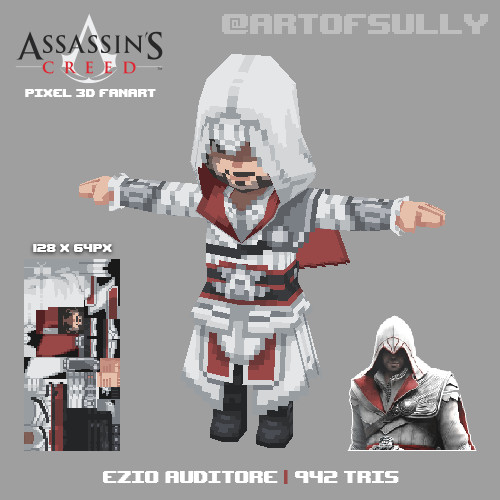 Ezio Auditore ('Assassin's Creed' lowpoly pixel fanart)