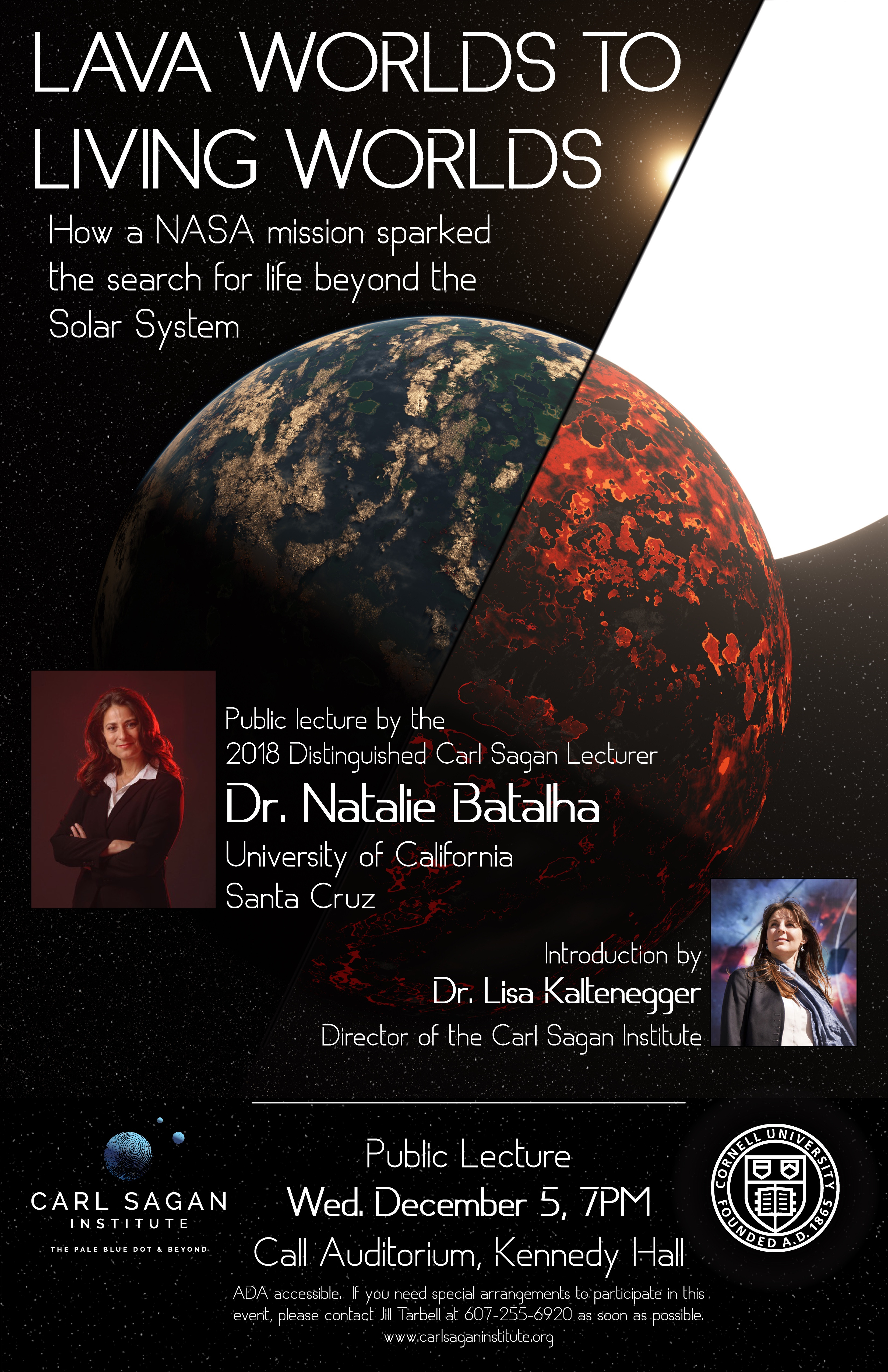 Poster for 'Lava Worlds to Living Worlds', a public talk by Dr. Natalie Batalha