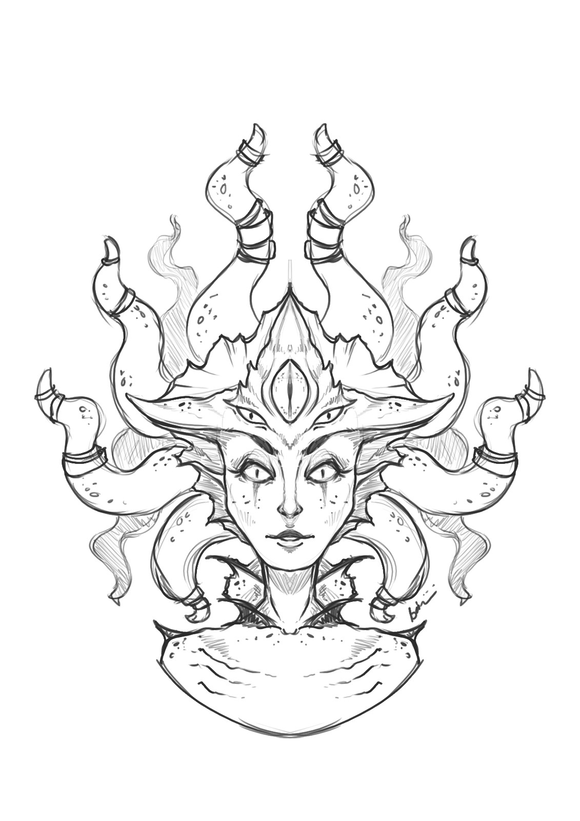 Fan Art sketch of Queen Azshara (WoW)