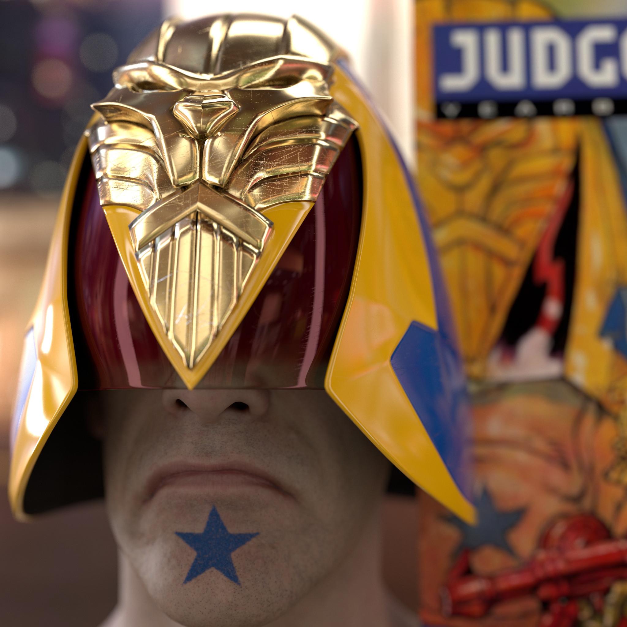 Brit-Cit Judge Helmet based on a design by Brendan McCarthy (Head sculpt by Ten24)