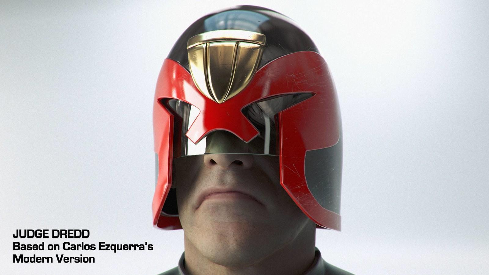 Modern Dredd helmet based on a design by Carlos Ezquerra (Head sculpt by Ten24)