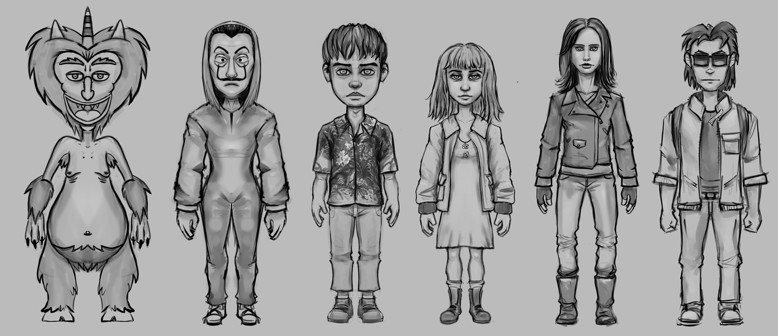 Sketches done before modeling and sculpting.