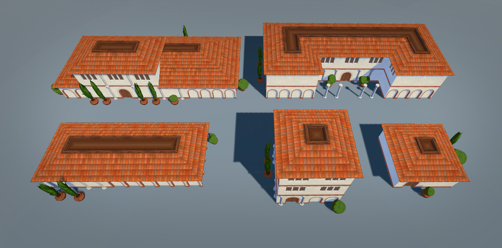 The five building prefabs created with the building kit.