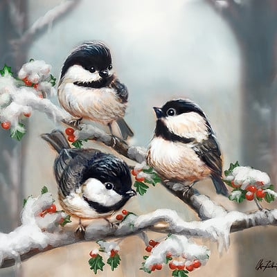 Okan bulbul little birds on a tree