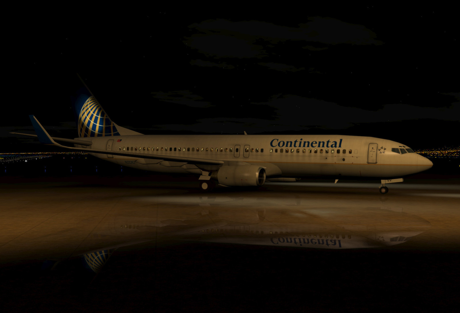 Continental (now United) 737 taxiing on a wet ramp