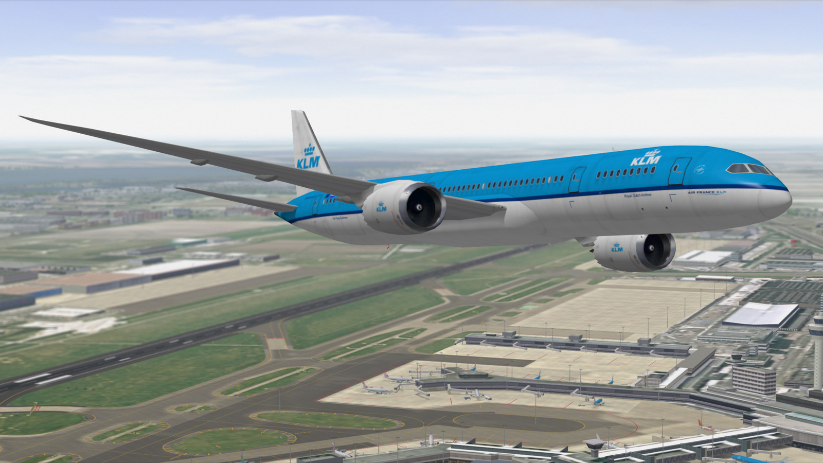 KLM Boeing 787 over Amsterdam Schiphol airport