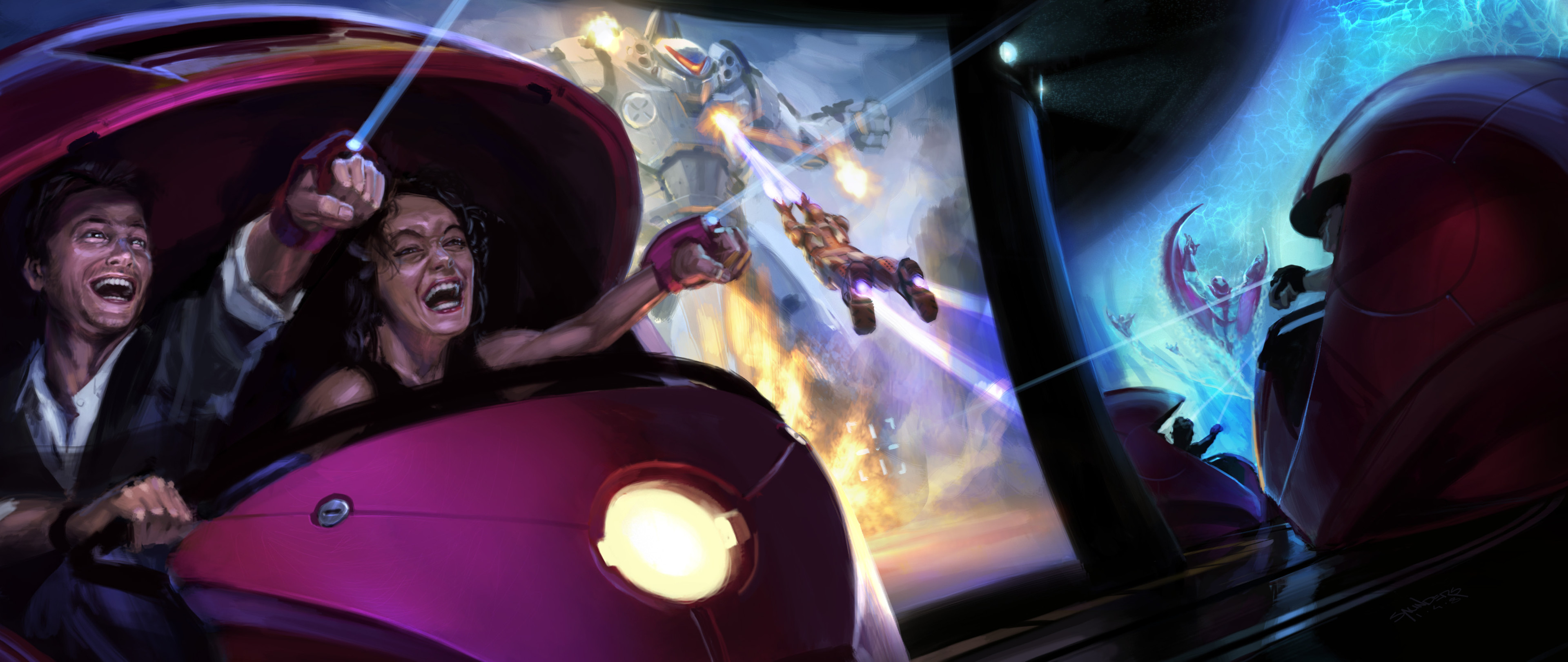 "The final pitch illustration for the ""Shooting Gallery"" version of the Iron Man ride."