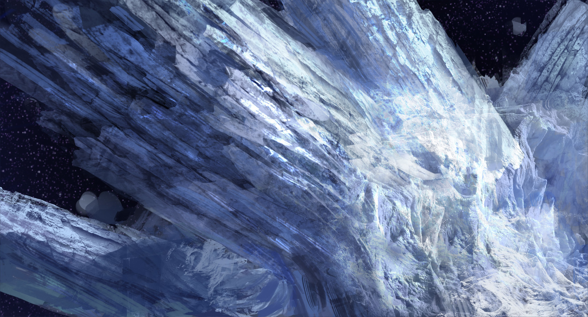 --but not fast enough! The spinning ice and rock still bears down on us, its dumbbell-shape sweeping closer with every tumble. Captain times it-- launches us straight toward the comet, following the tumbling form into the tail but—