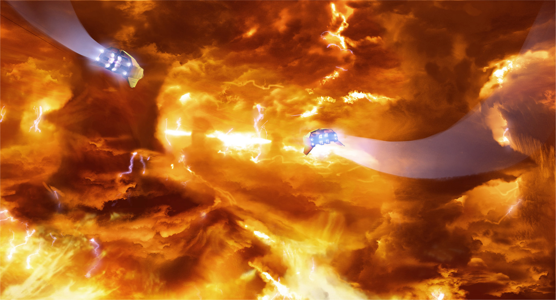 --formed from boiling clouds of flame above and a molten sea of liquid fire below.