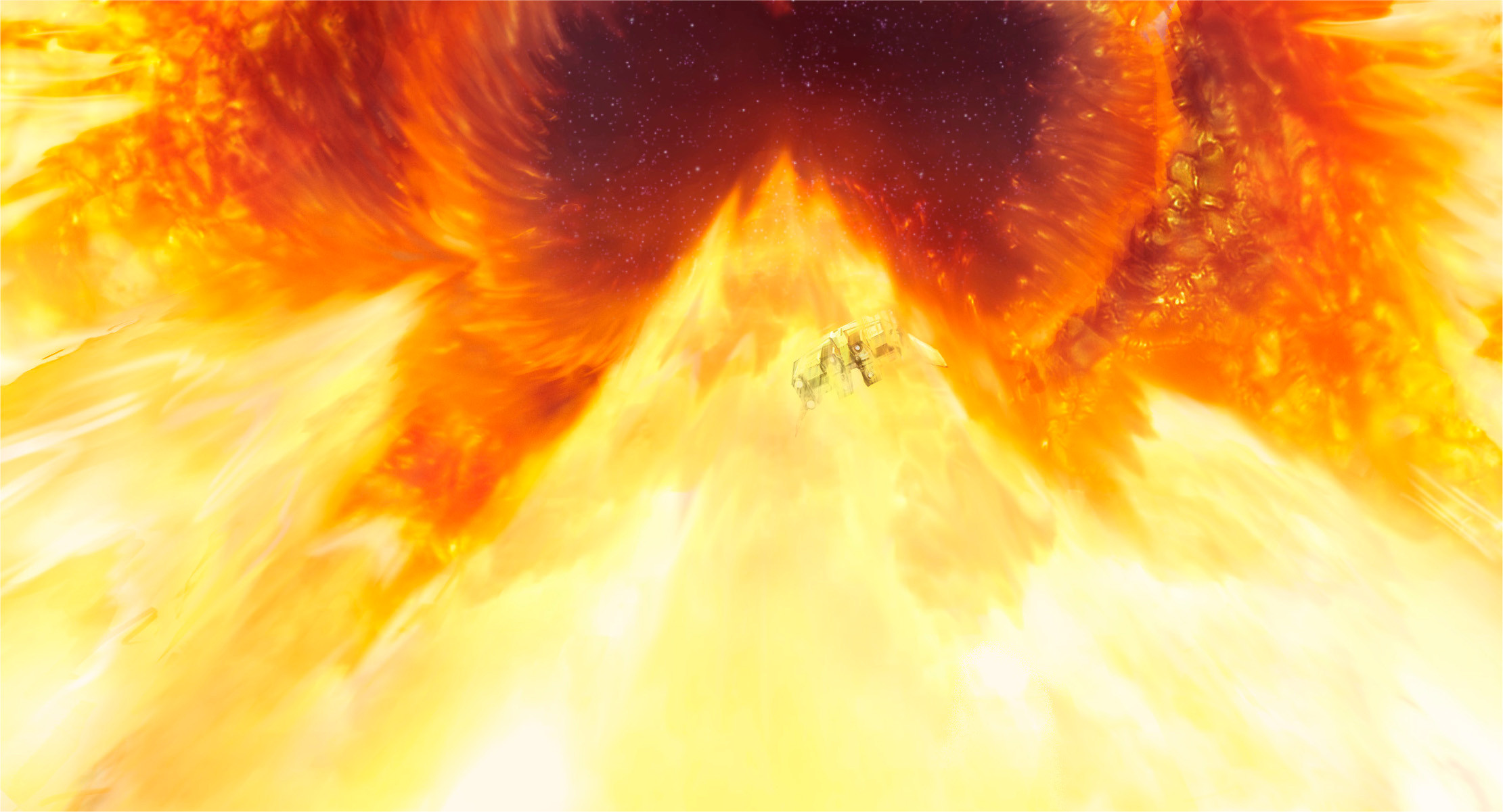 --hurling our ship up through the burning sky surfing a pillar of liquid flame, into the darkness of space.