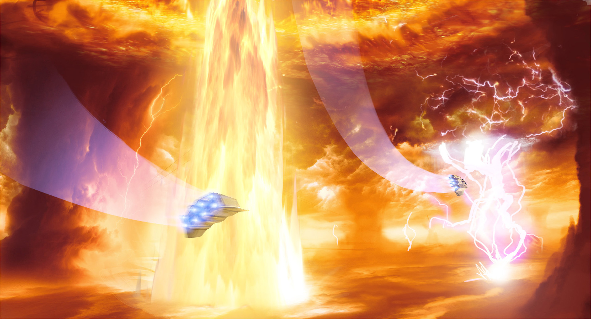 –And a flare of liquid plasma bursts up from the crack, parting the clouds above on its way into space. More storms erupt around us and our ships lurch as we take evasive action.