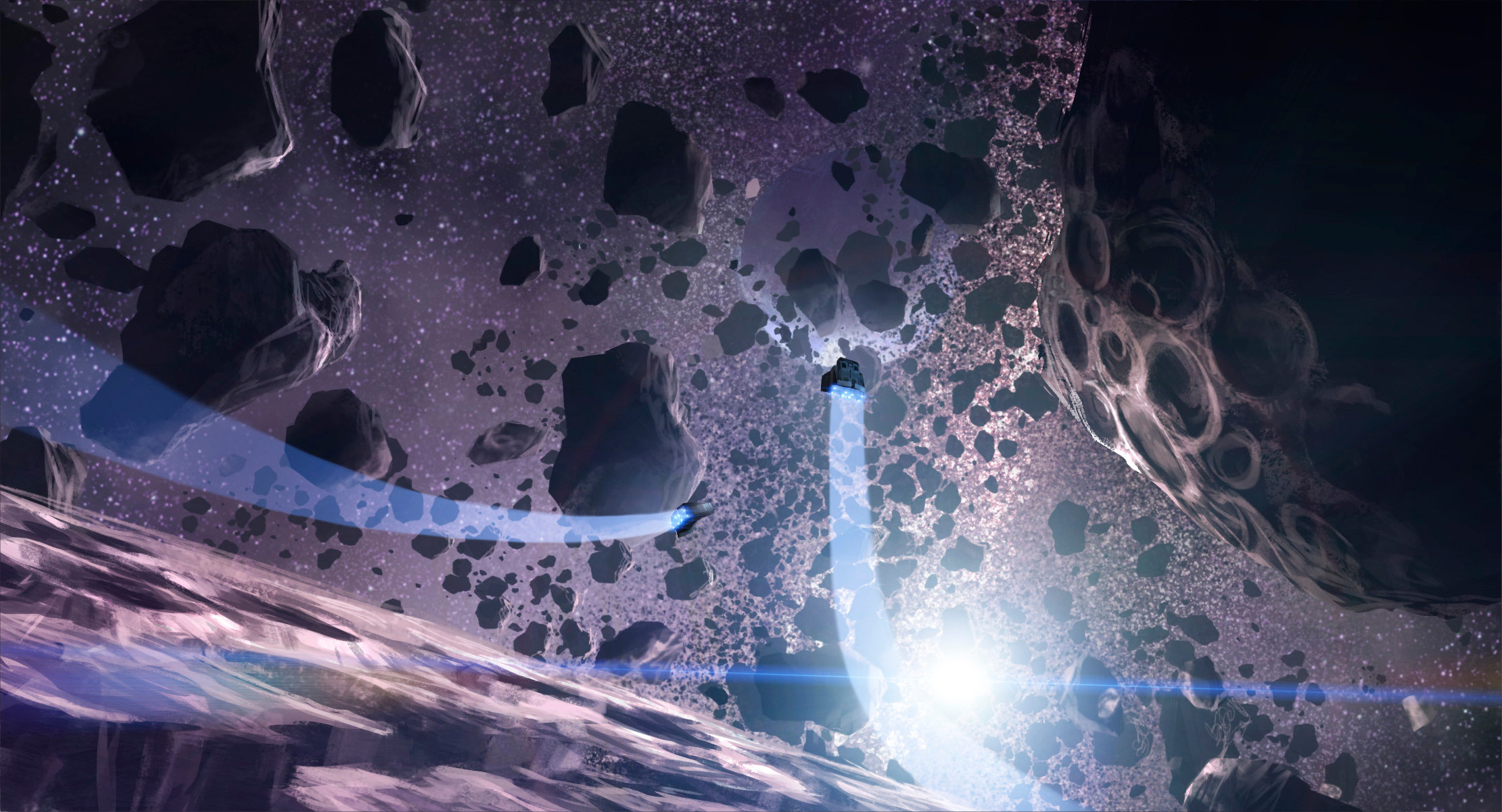 As we pull out into space, our view opens up on an intimidating sight: our destination planet lies on the other side of a dense field of asteroids and rocky debris. The Captain tells us we will have to slow and pick our way through, but there's no time!
