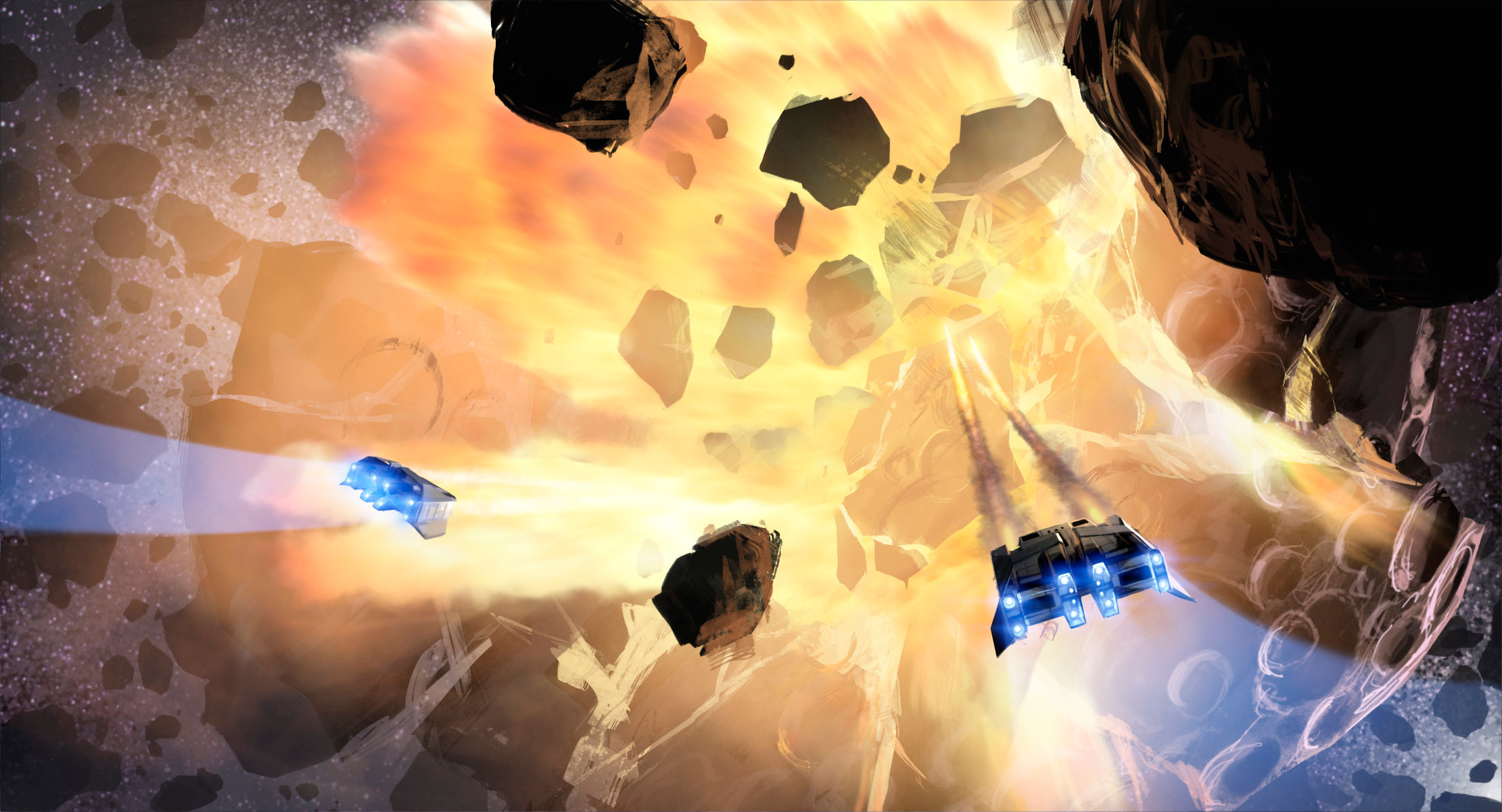Before our Captain can raise an alarm—Our sister ship fires at the nearest giant asteroid, splitting it into pieces! Big mistake - A chain reaction of planetoid collisions has been set in motion and we are in the middle of it.
