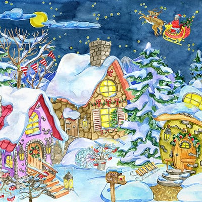 Vera petruk samiramay 09 christmas and new year greeting card with cottahe houses village against fir forest and santa in sky