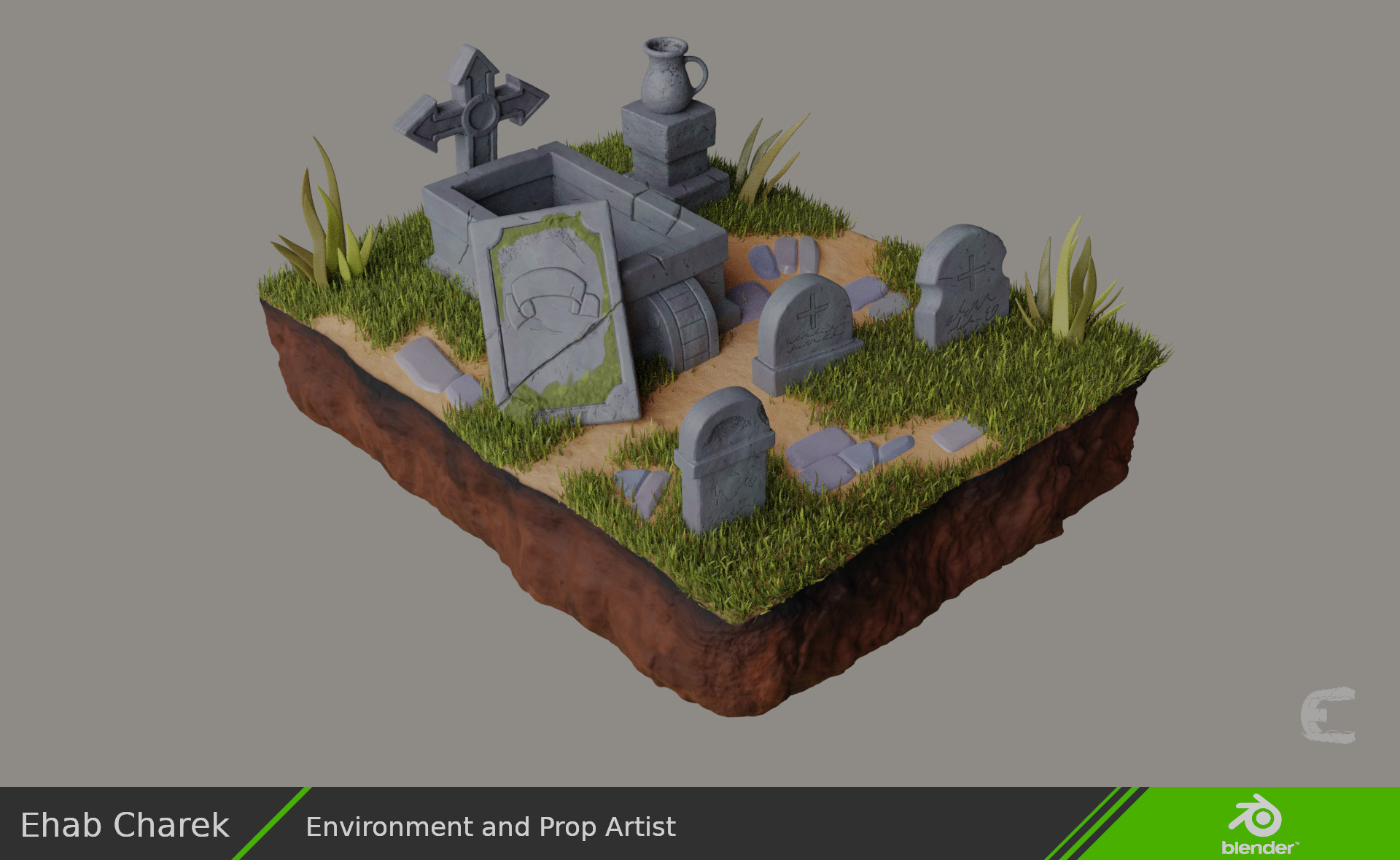 Rendered sculpture with procedural textures