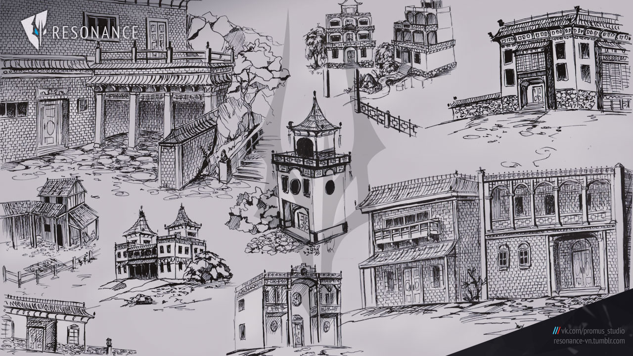 Some sketches for the background above.