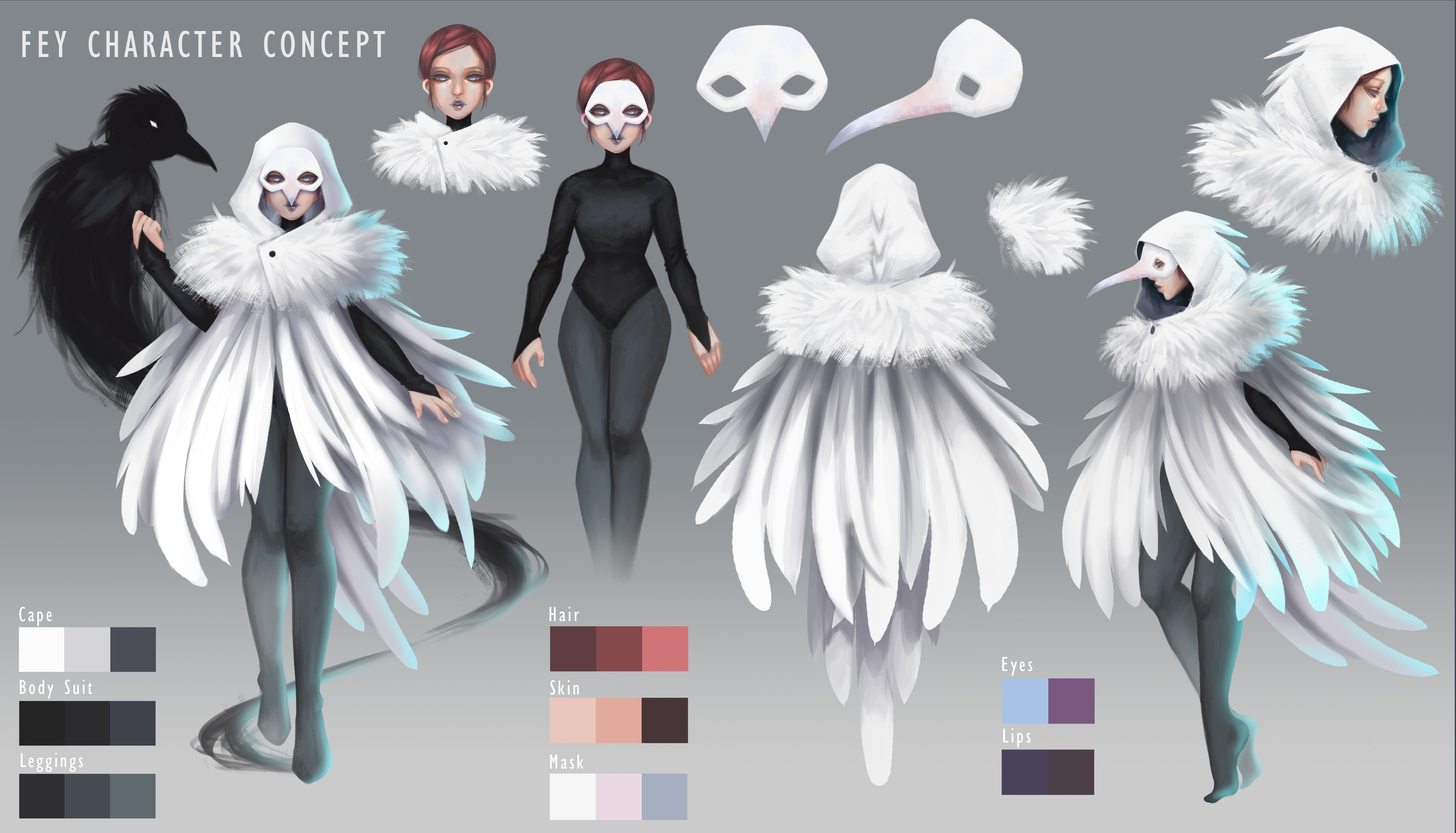 Fey's character design sheet with her companion the spirit; inspired by the elegant and rare white ravens