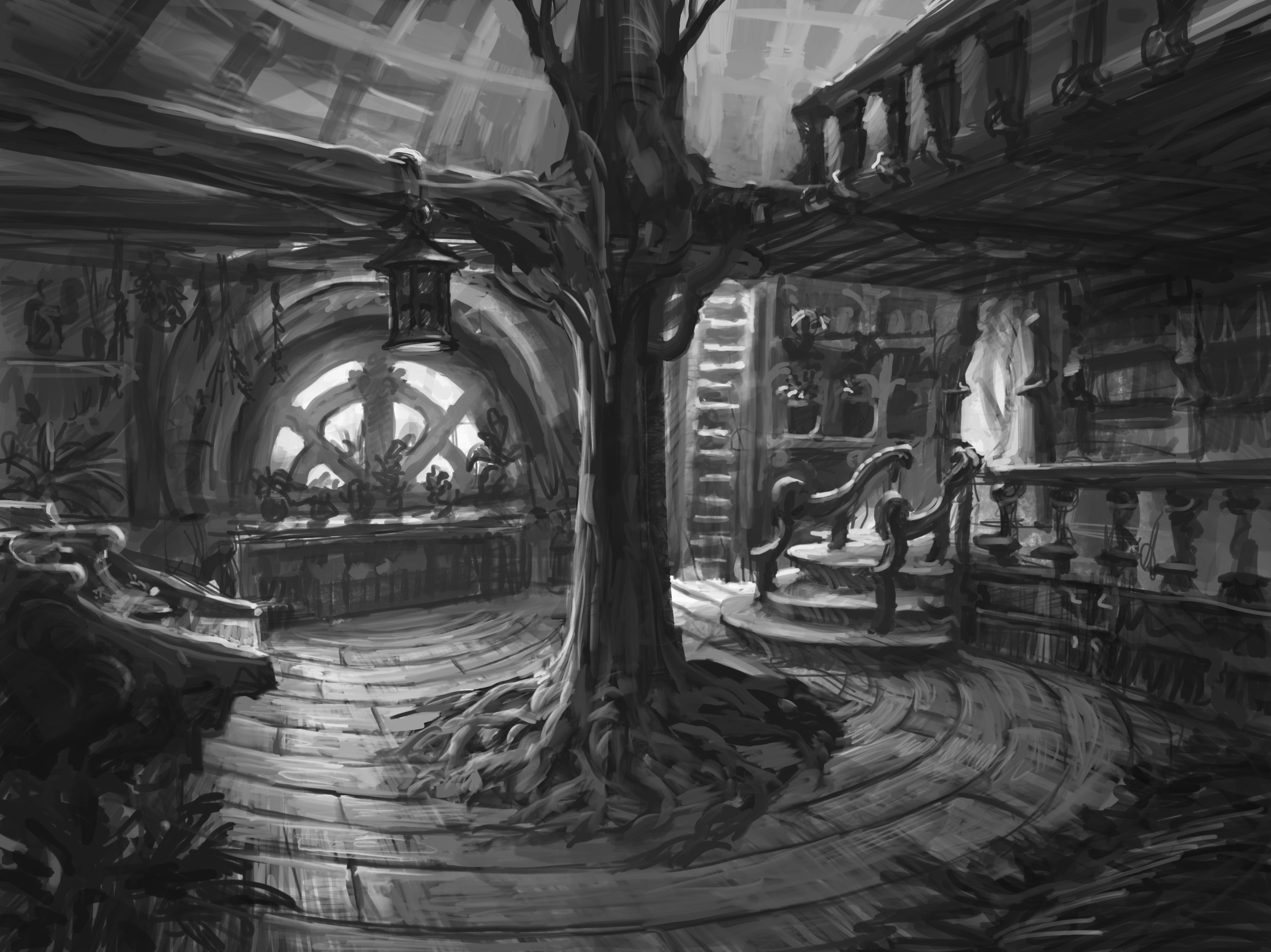 Interior Sketch - Done before doing all the rest. This sketch sparked the idea for the building.