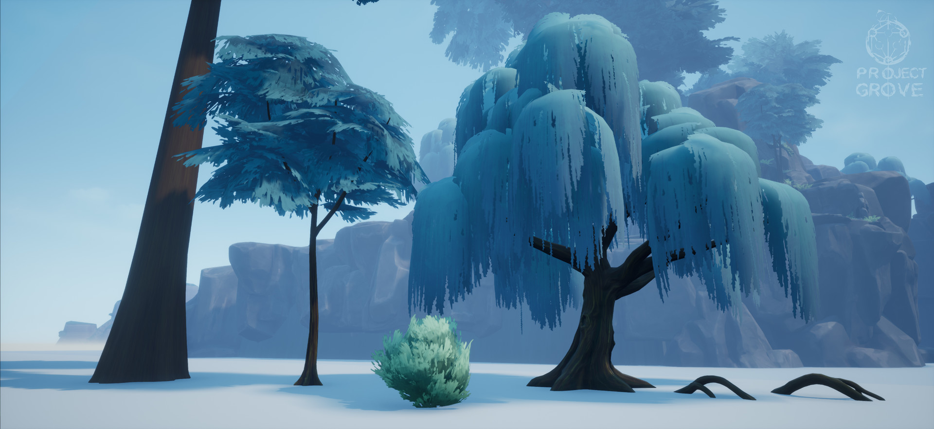 Trees: a huge one to create a canopy, a rather generic one to that doesn't look too unique so you can use it everywhere and a more unique looking one that is supposed to be used more sparsely.