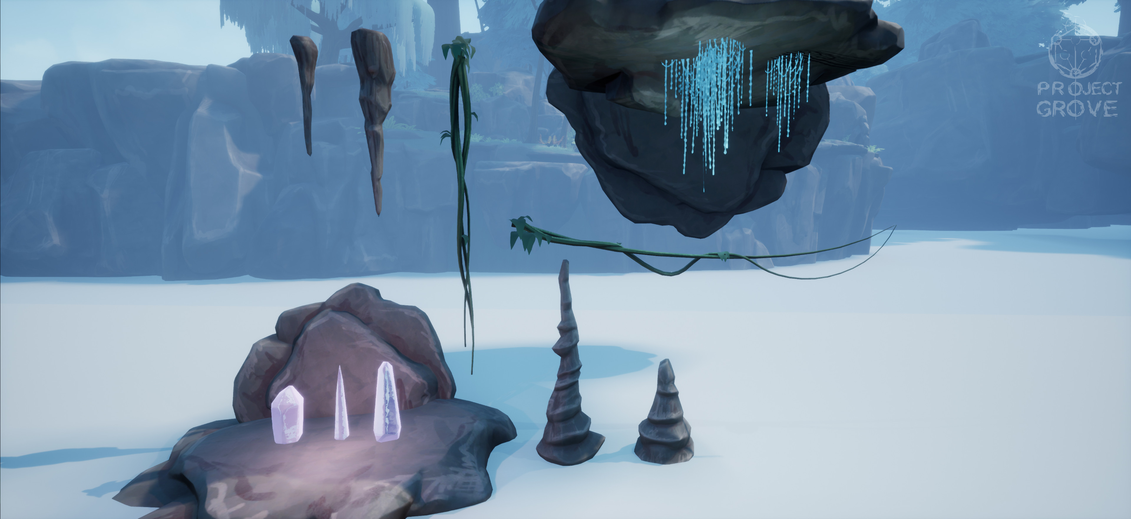 Some cave / scatter assets: stalactites and stalagmites, glowing crystals, vines and glow worms.