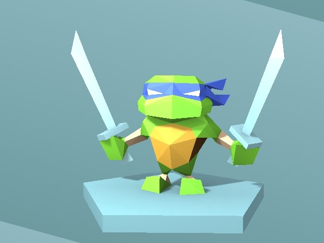 Leonardo showing off his swords