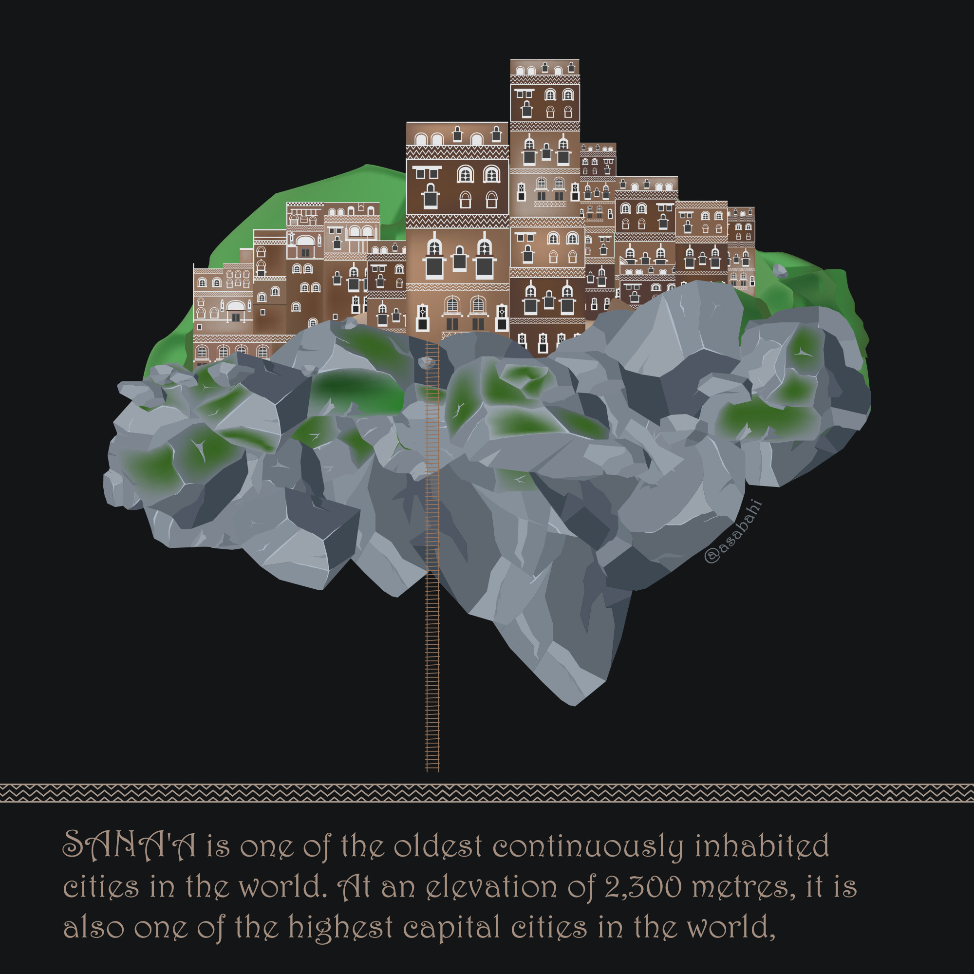 Sana'a is one of the oldest continuously inhabited cities in the world. At an elevation of 2,300 metres, it is also one of the highest capital cities in the world