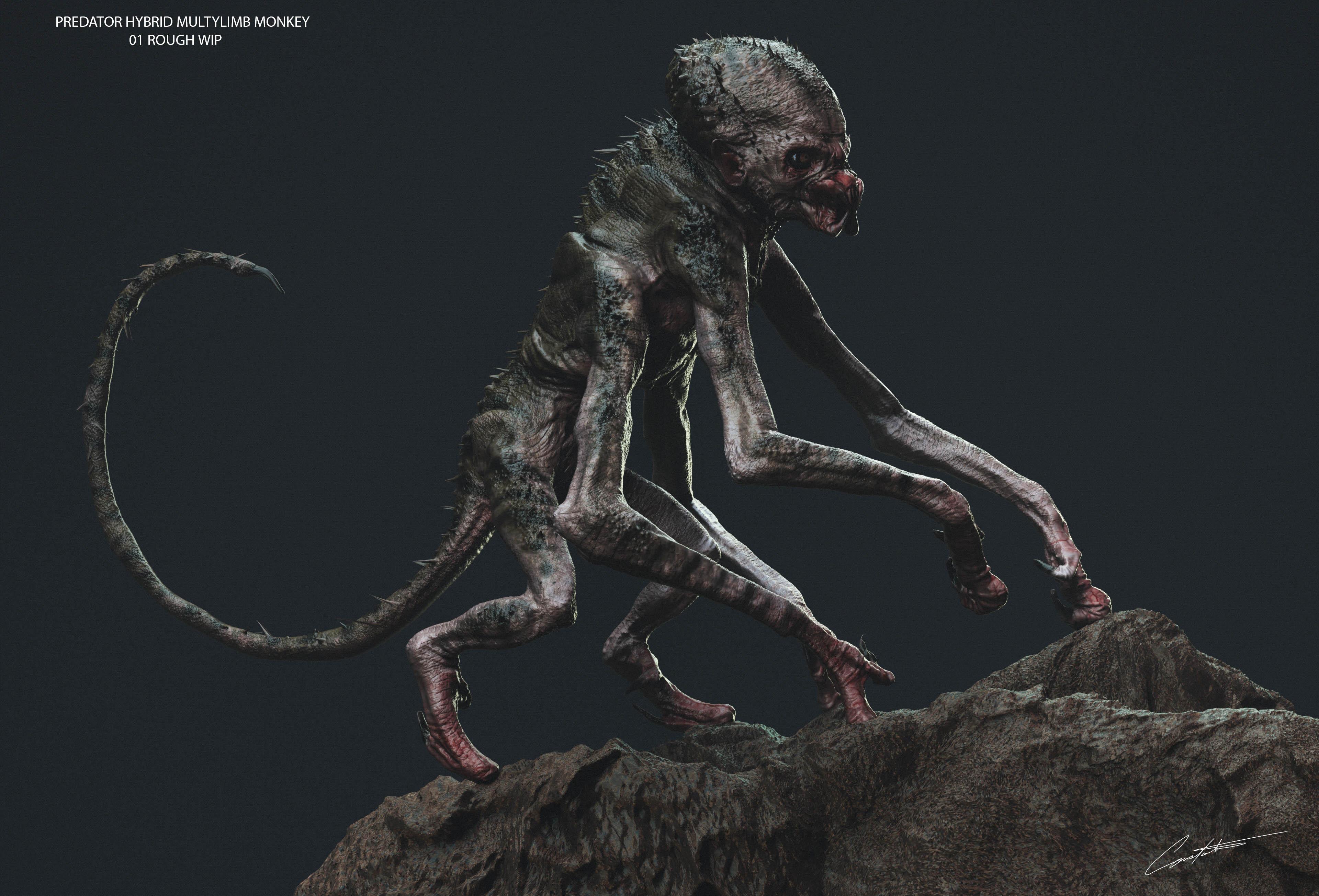 predator hybrid monkey creature design
