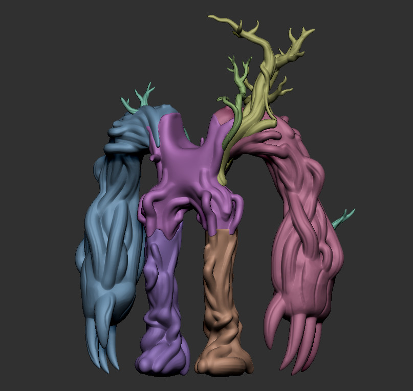 The Tree Body had to be broken into parts to get the level of detail I wanted without crashing zbrush. Each segment was between 2-4 million verts once the bark was stamped on.