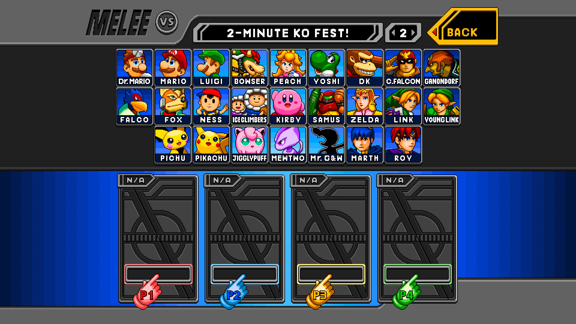 Start of the menu screen