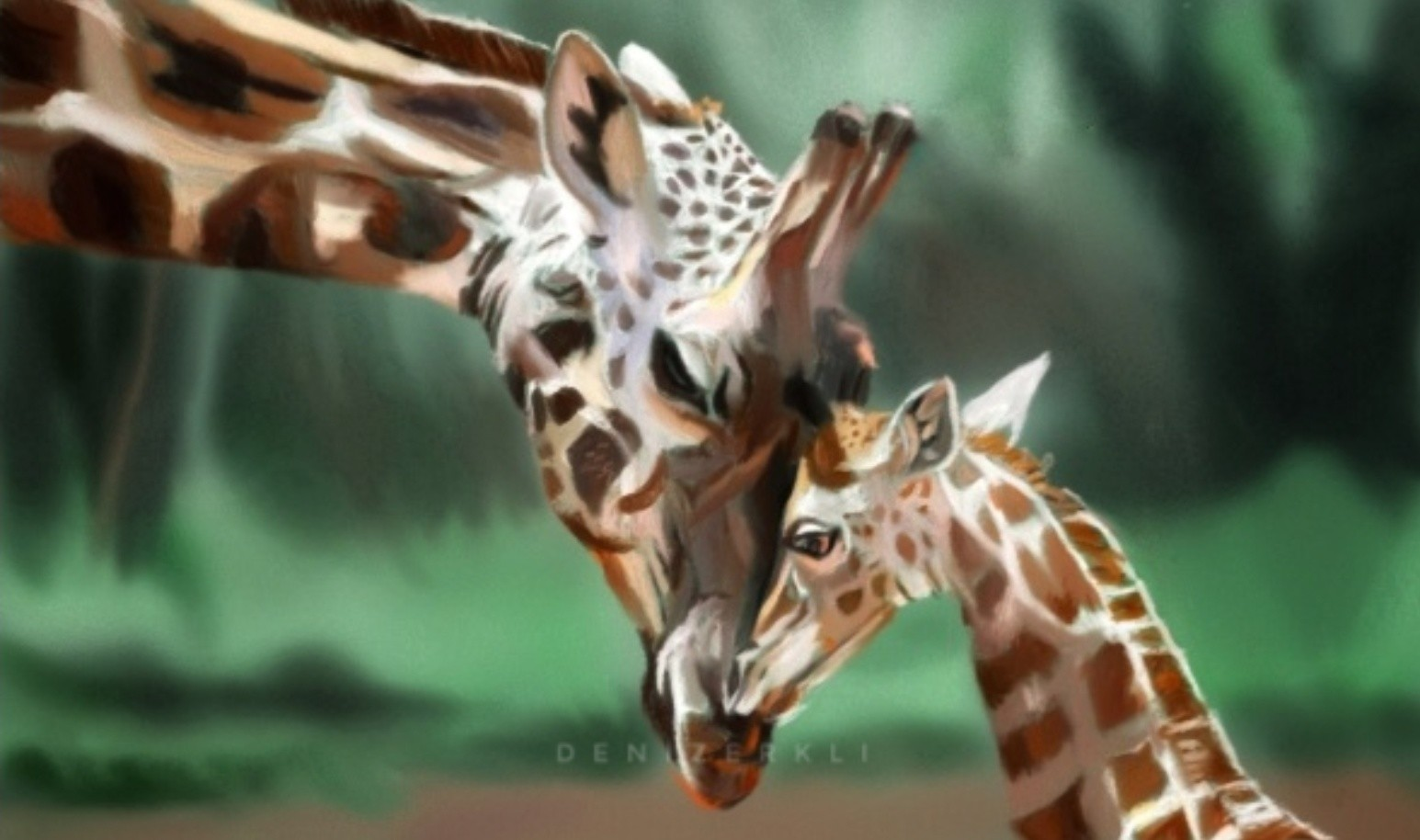Deniz Erkli Mother Baby Giraffe