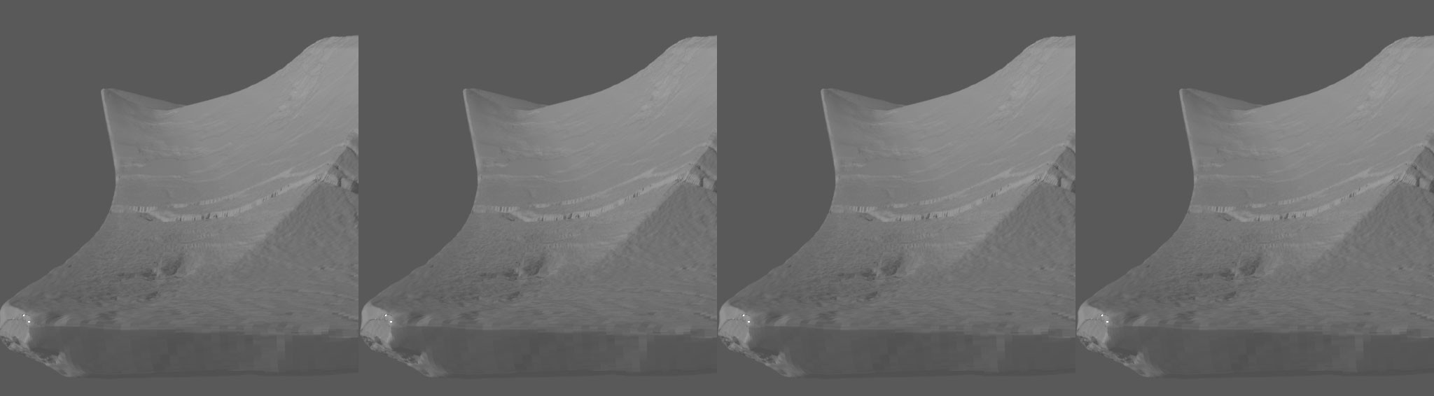 highres sculpt for comparison with below. Note the sharp edges get lost e.g. the damaged corner