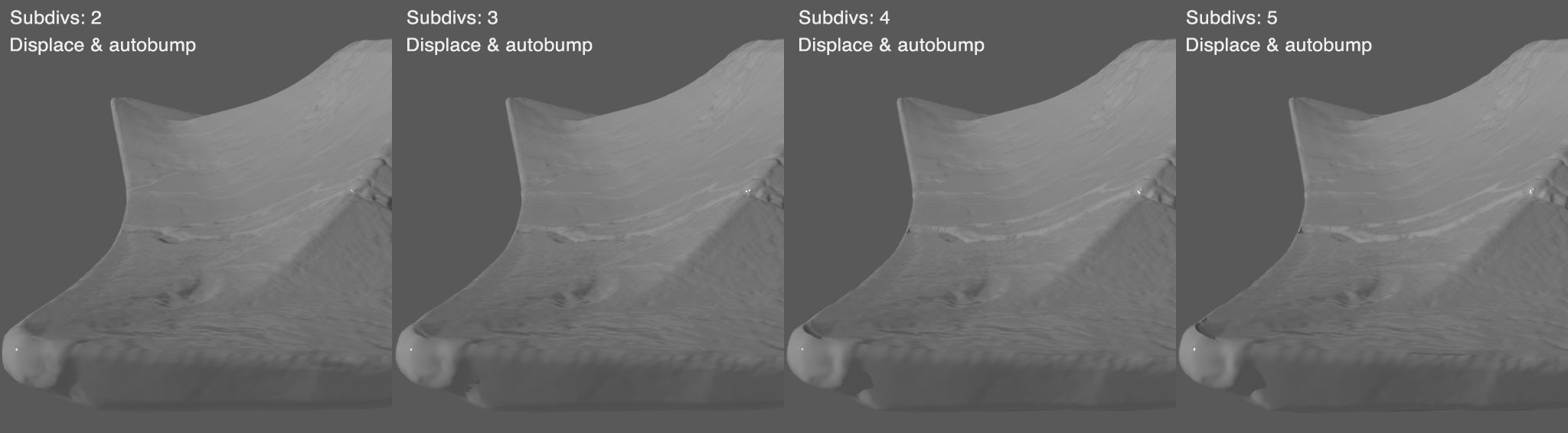3 subdivisions with autobump seems to be sweet spot. But still not happy with the overall softening & bloating.