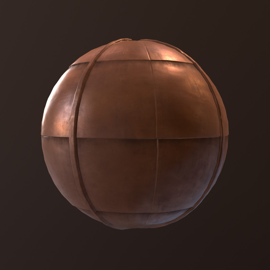 Same material on a sphere.  Rendered with displacement in Marmoset.