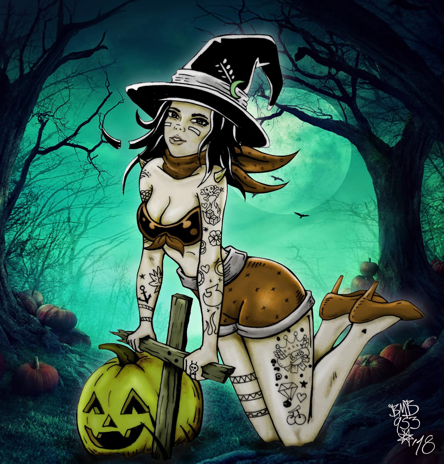 Artstation Halloween Pin Up Bamm Bamm Pineda