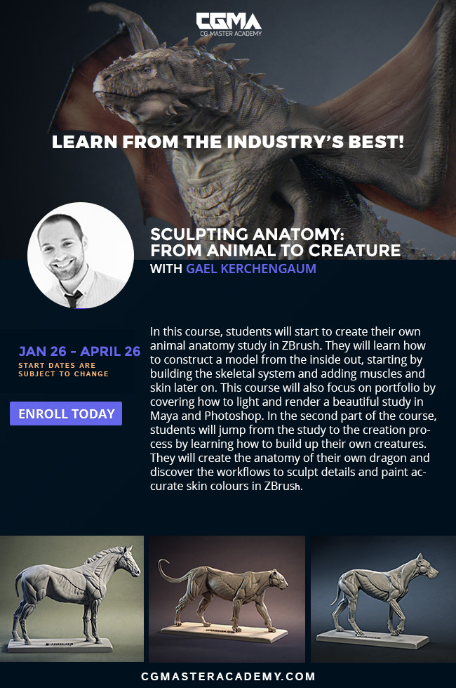 If you want to register yourself for the next classes, follow the link : https://www.cgmasteracademy.com/courses/94-sculpting-anatomy-from-animal-to-creature . The next class will start on the end of January, so do not wait too long before jumping in !