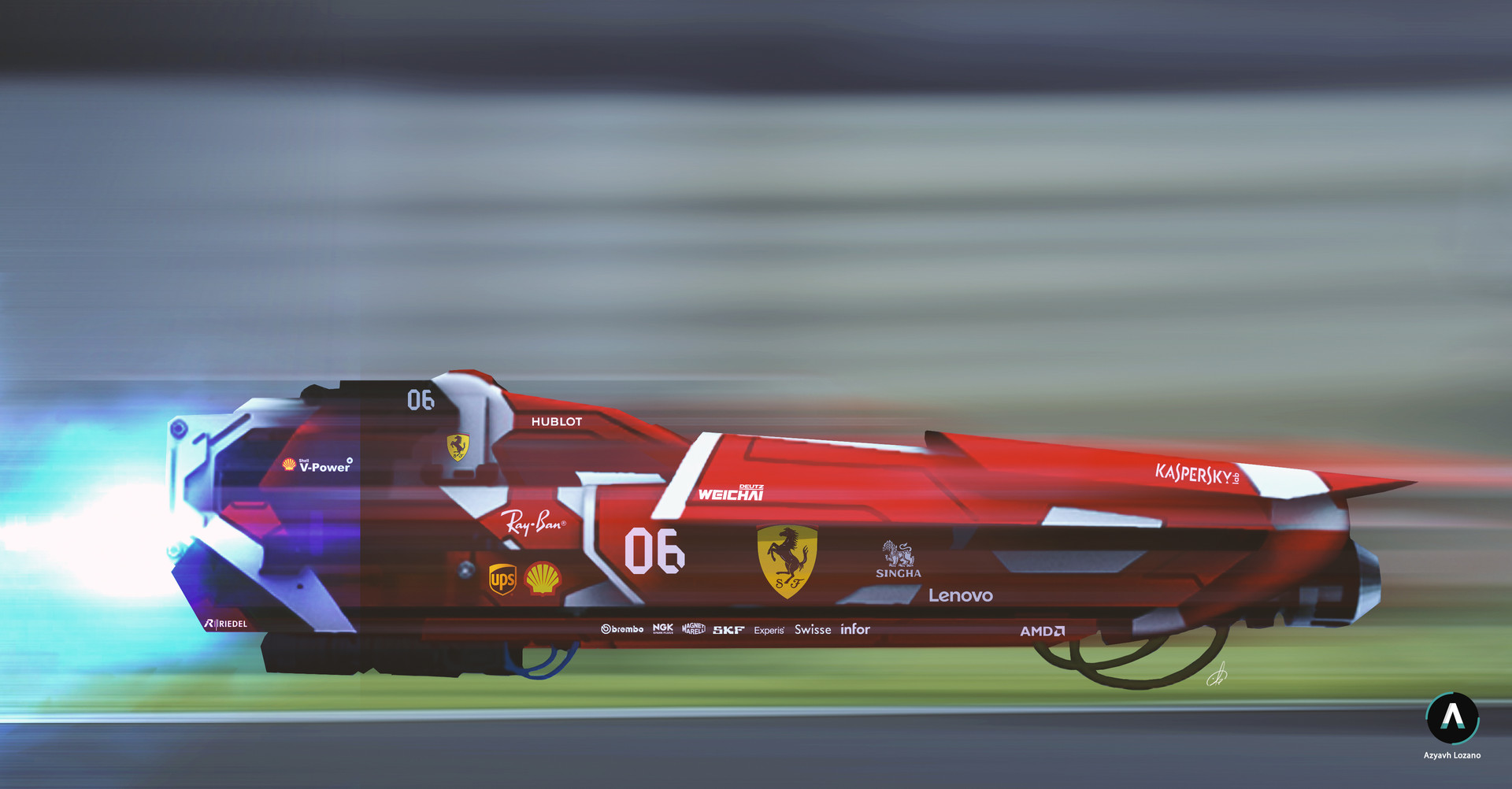 ArtStation , Ferrari 2099 Concept Art , Azriel Lozano