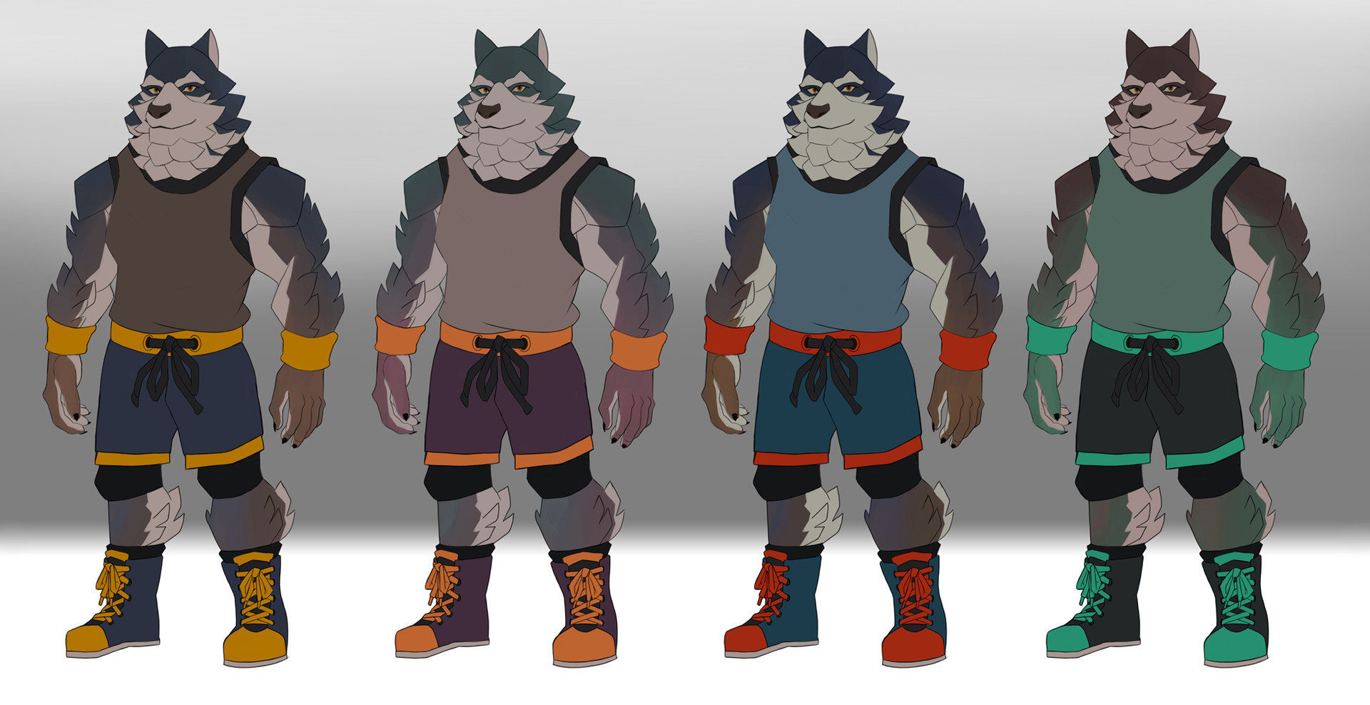 Daniel bernal werewolf wrestler color bernalstudio
