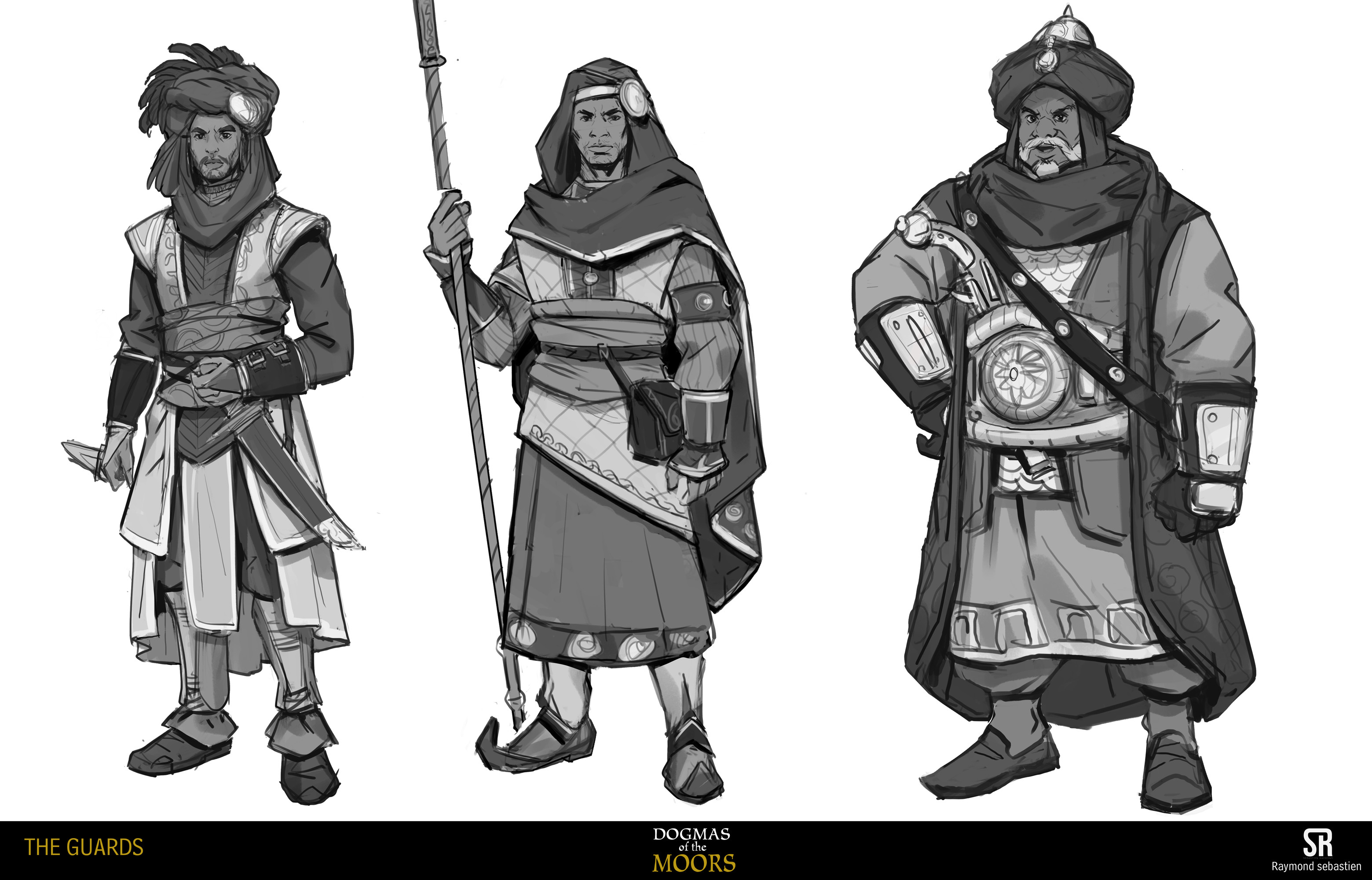 initial quick sketches for the guards